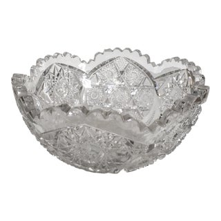 Antique Saw Tooth Cut Crystal Bowl For Sale