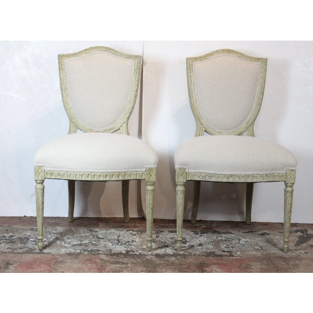 20th Century Louis XVI Style Off-White Side Chairs - a Pair For Sale In Los Angeles - Image 6 of 6