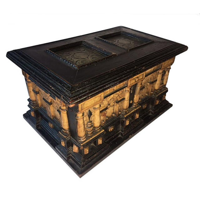 A 17th Century Malines alabaster and ebonised wood coffer or casket with engraved inset panels, arches and columns. The...