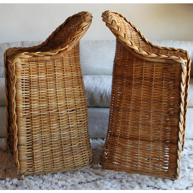 Rattan Vintage French Woven Rattan Bar Stools - a Pair For Sale - Image 7 of 13