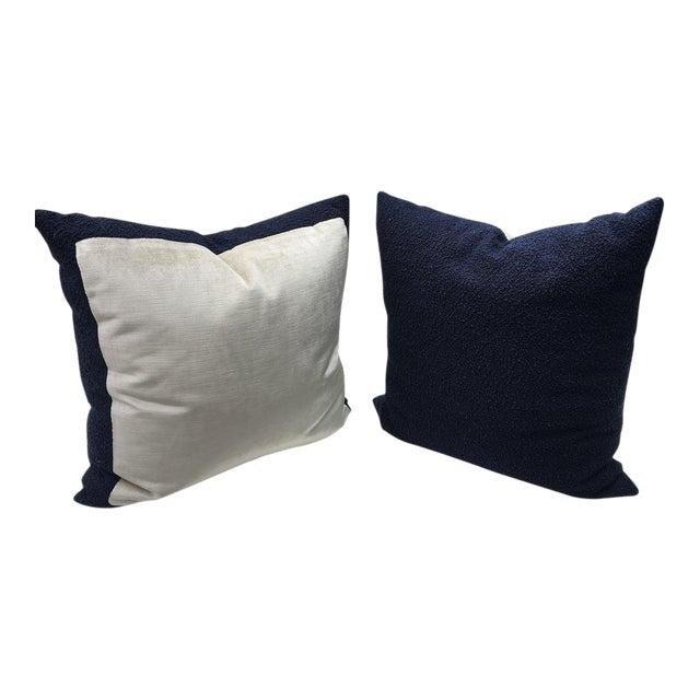 Custom Navy Curly Boucle Pillows - A Pair For Sale