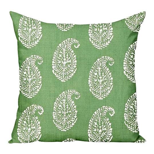 Peter Dunham Kashmir Paisley Outdoor Pillow Cover, Green For Sale
