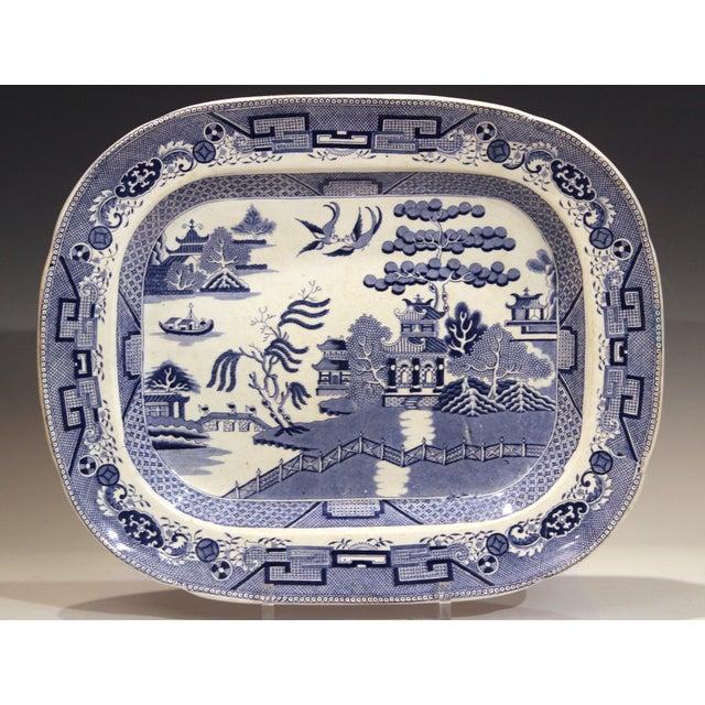 Antique Staffordshire Blue Willow Platter Large Server Platter For Sale - Image 11 of 11