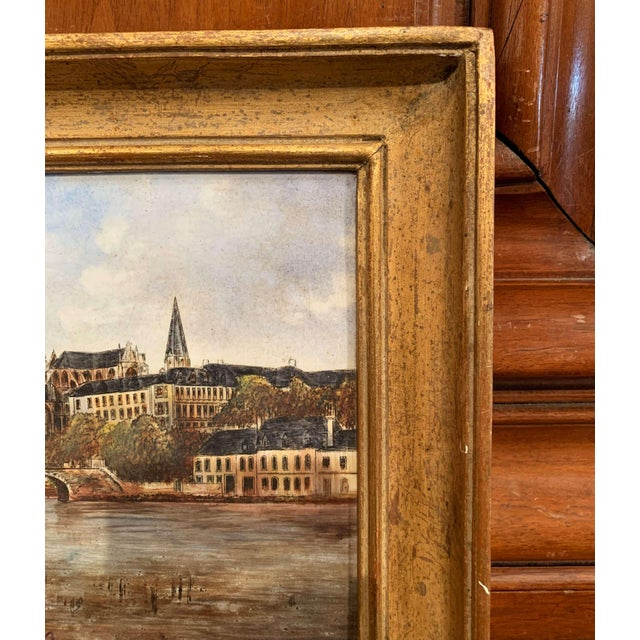 Illustration 19th Century French Hand Painted Porcelain Plaque of the City of Auxerre For Sale - Image 3 of 7