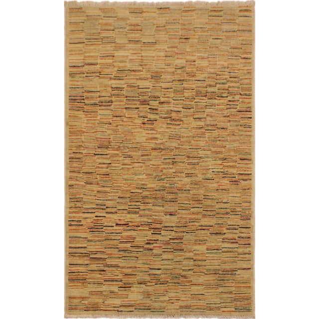 Blue Gabbeh Peshawar Blair Tan/Rust Hand-Knotted Wool Rug -3'2 X 5'0 For Sale - Image 8 of 8