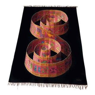 Amazing Op Art Mid Century Alpaca Handmade Wool Wall Hanging Tapestry Rug Peru For Sale