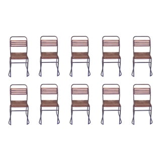 Industrial Wood and Patina Metal Chairs For Sale