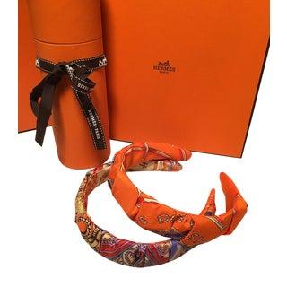 Hermes Handmade Orange Les Domes Celestes Silk Scarf Ruched Headband For Sale