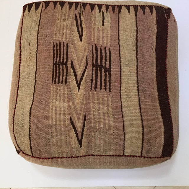 Moroccan Tribal Floor Pillow Seat Cushion Made From a Vintage Berber Rug For Sale - Image 9 of 13