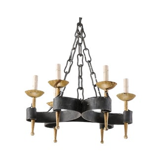 French Mid-20th Century Six-Light Black and Gold Hand-Forged Iron Chandelier For Sale