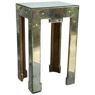 Art Deco Style Antiqued Mirrored Side or End Table Greek Key Shaped Apron For Sale