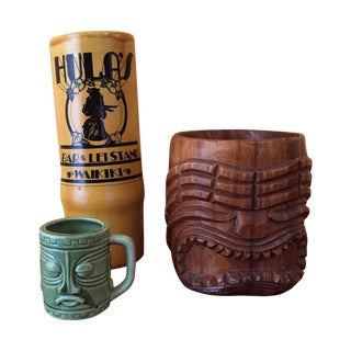 Vintage South Pacific Tiki Containers - Set of 3