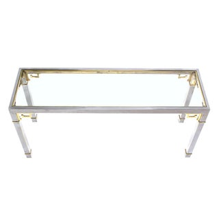 Chrome Brass and Glass Greek Key Design Console Table by Mastercraft