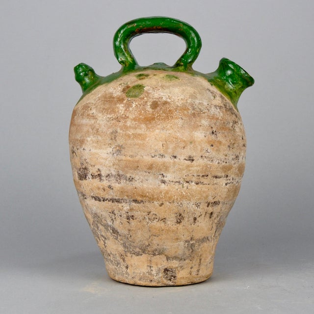 French Medium Terra Cotta and Green Glazed Jug For Sale - Image 4 of 6