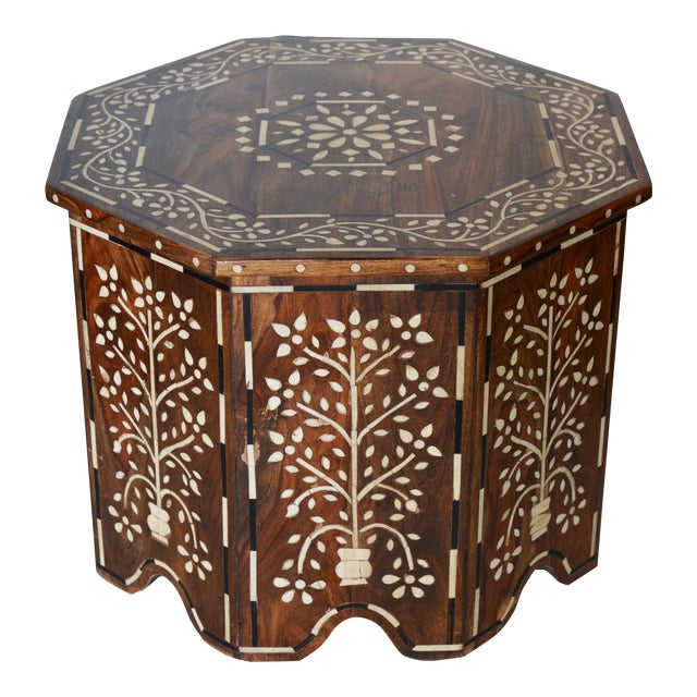 Moroccan Bone and Wood Inlay Side Table For Sale