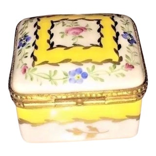 Vintage Limoges Yellow & White Floral Box For Sale
