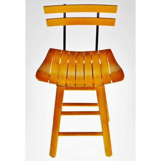 Mid-Century Modern Mid Century Arthur Umanoff Style Slatted Wood Swivel Stool For Sale - Image 3 of 13