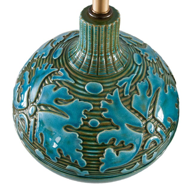 Retro Blue Green Sphere Lamps - A Pair - Image 5 of 5