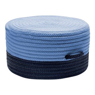 Color Block Navy & Blue Pouf