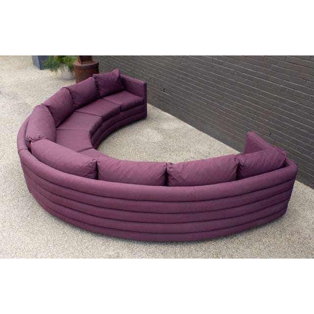 Purple Milo Baughman for Thayer Coggin 1970s Channel Back Semi-Circular Sectional Sofa For Sale - Image 8 of 12