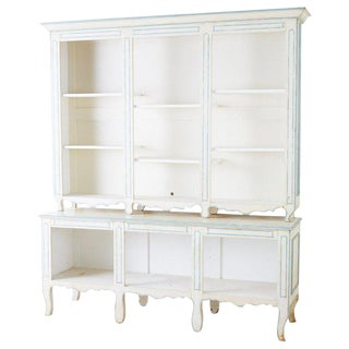 French Provincial Style Painted Open Shelf Cabinet Bookcase For Sale