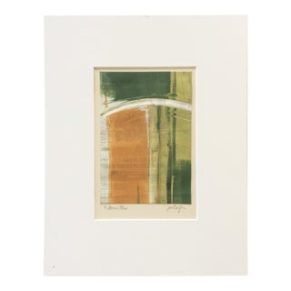 """Vintage Abstract Pattern Signed Monotype """"Bonus Plus"""" by Joan W. Caefer - Original Print on Paper With Green, Orange, and Black"""