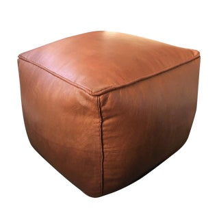 Pouf Square Moroccan Leather Ottoman Pouffe - Rustic Brown For Sale