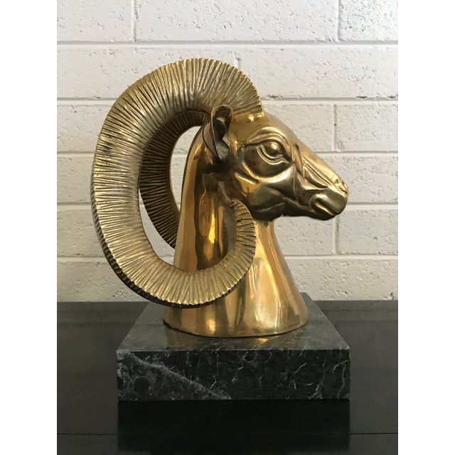 Americana 1980s Contemporary Brass Ram's Head on Marble Base For Sale - Image 3 of 6