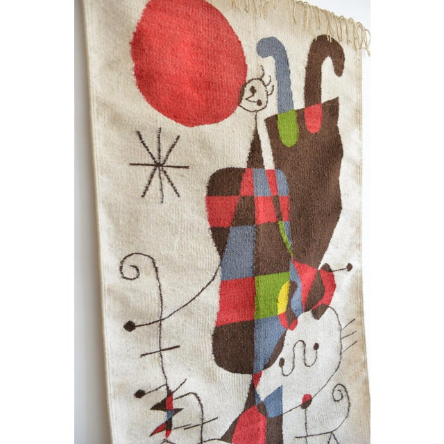 Abstract 1965 Miro Style 'Upside Down Figures' Tapestry For Sale - Image 3 of 9