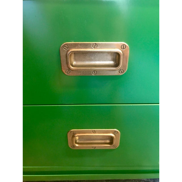 Brass Green Lacquered Campaign Desk For Sale - Image 7 of 9