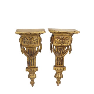 Vintage Pair of French Giltwood Wall Shelves Neoclassical Italian Wall Brackets For Sale