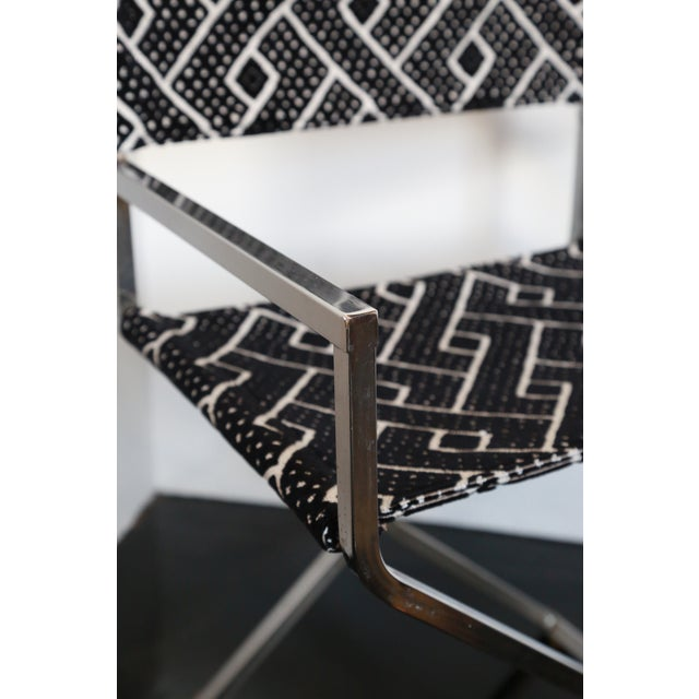 Mid-Century Modern Vintage Re-Reupholstered Chrome Directors Chairs - A Pair For Sale - Image 3 of 5