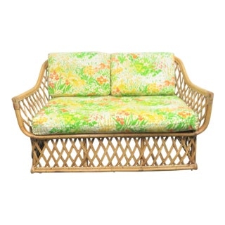 Vintage Mid Century Rattan Lovseat For Sale