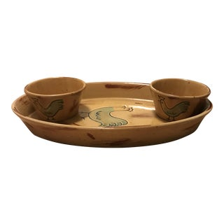 Vietri Oval Rooster Dish & Condiment Bowls - Set of 3 For Sale