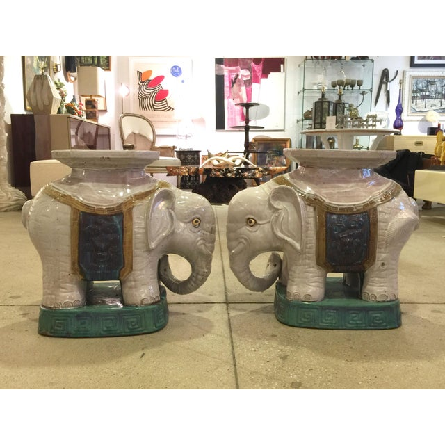 Ceramic Elephant Garden Stools - A Pair - Image 4 of 10