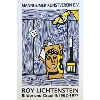 Roy Lichtenstein 'Léger Head With Paintbrush' 1977 Hand Signed Original Pop Art Poster For Sale