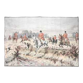 1920's French Fox Hunt Equestrian Tapestry For Sale