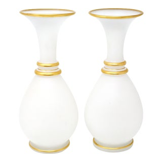 Vintage Milk Glass Vases With Gold Trim - a Pair For Sale