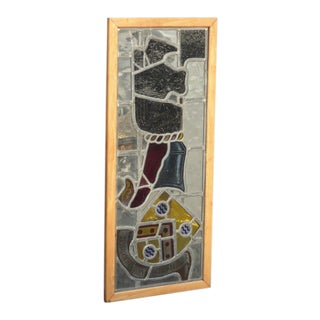 Vintage Medieval Stained Glass Wall Hanging Art For Sale