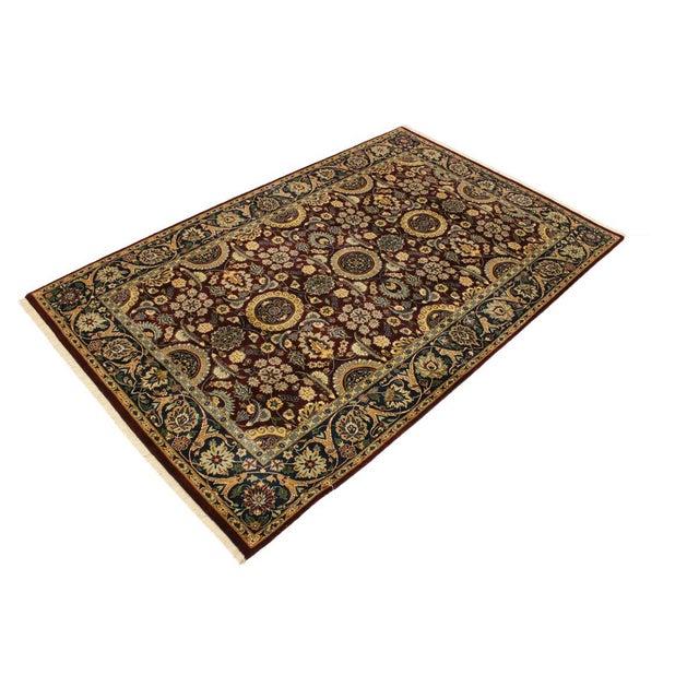 Asian Agra Tabriz 16x18 Veg. Pak-Persian Lisabeth Purple/Blue Wool Rug - 4'7 X 7'3 For Sale - Image 3 of 8