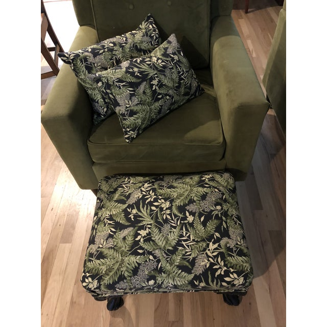Contemporary Contemporary Waverly Chartreuse and Black Print Lumbar Pillows - a Pair For Sale - Image 3 of 6