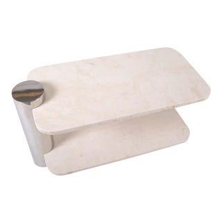 Pace Collection Stainless Steel and Travertine Side Table For Sale