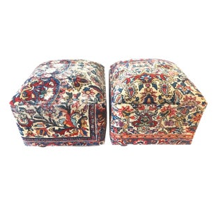 Ottomans Upholstered with Antique Kirman Savonnerie Rug - a Pair For Sale