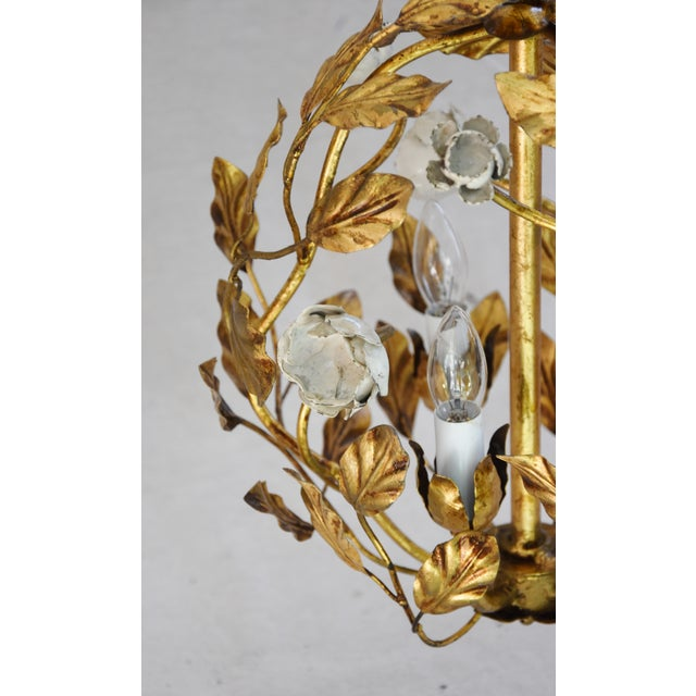 Vintage Three-Arm/Light Italian Gold Gilt Ball Tole Chandelier For Sale - Image 4 of 11