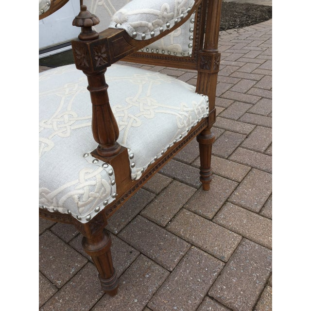 Antique French Walnut Armchairs - A Pair For Sale - Image 4 of 7