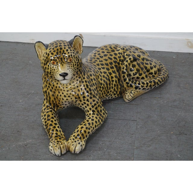 Large Italian Pottery Ceramic Leopard Statue AGE/COUNTRY OF ORIGIN: Approx 40, Asia DETAILS/DESCRIPTION: High quality,...