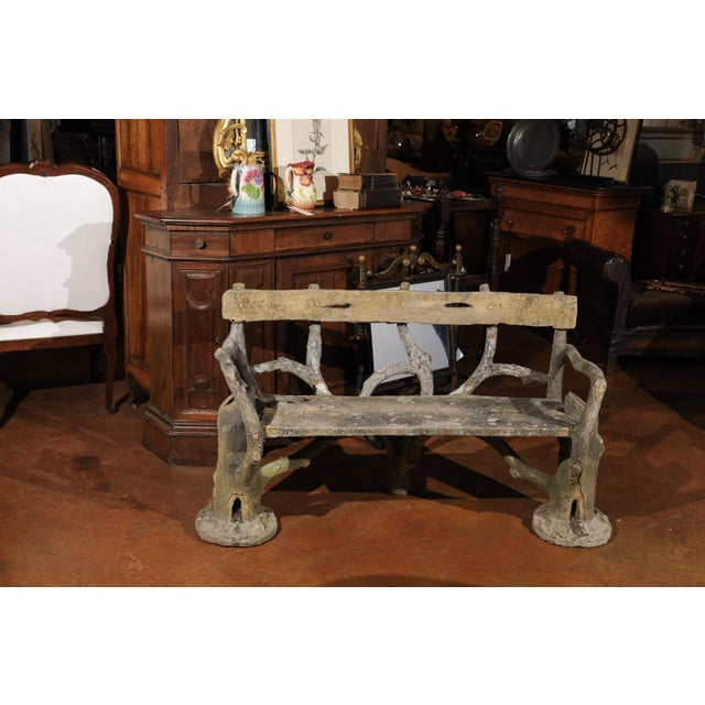 French French Late 19th Century Faux-Bois Concrete Bench with Vases Flanking the Sides For Sale - Image 3 of 13
