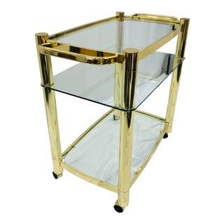 Vintage Mid Century Modern Brass Bar Cart For Sale
