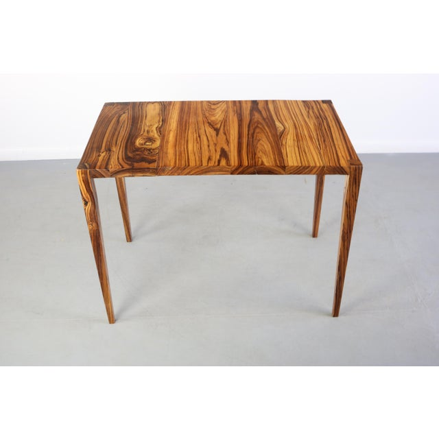 Wood 1970s Danish Modern Zebra Wood Writing Desk/Console Table For Sale - Image 7 of 7