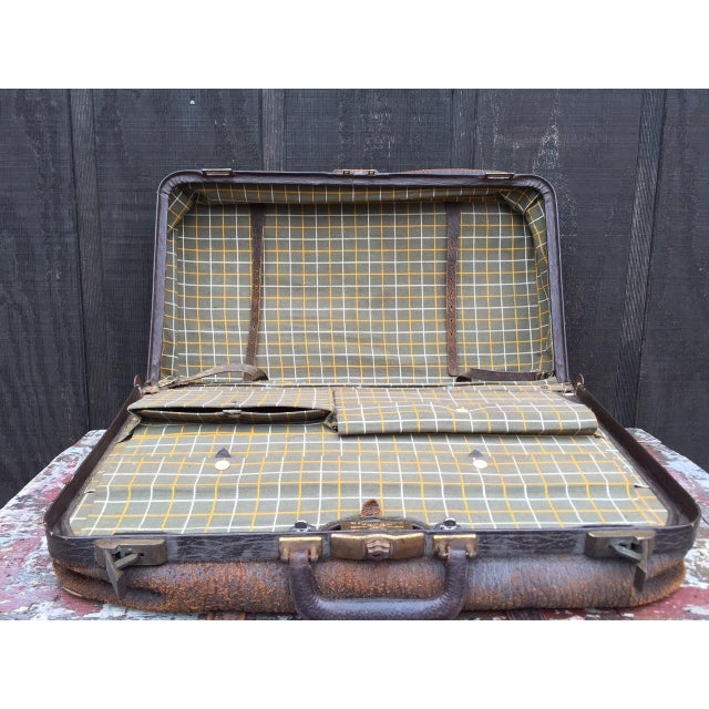 Green Leather Strap Suitcase For Sale - Image 8 of 13